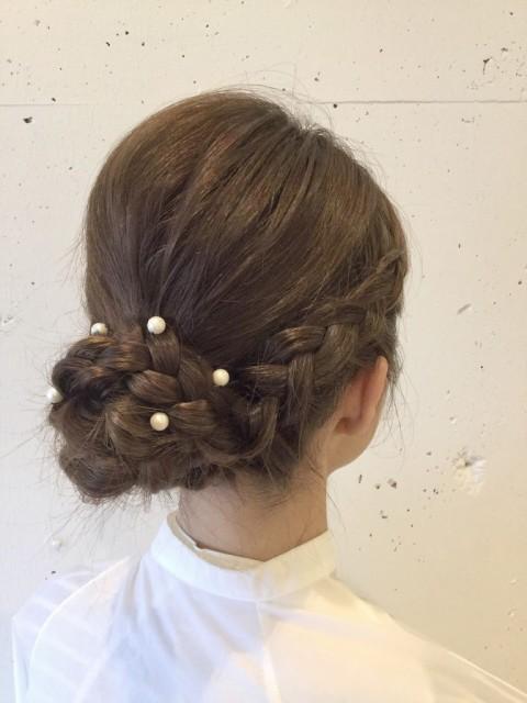 まとめ髪×編み込みおだんご