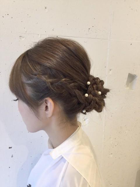 まとめ髪×編み込みおだんご2