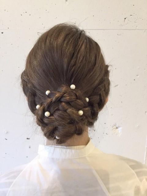 まとめ髪×編み込みおだんご3
